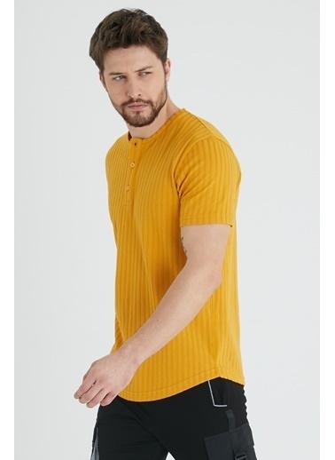 XHAN Hardal Düğmeli Likralı T-Shirt 1Kxe1-44643-37 Hardal
